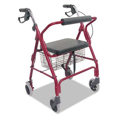 "Ultra lightweight rollator, burgundy, aluminum/plastic, 38""h, sold as 1 each"