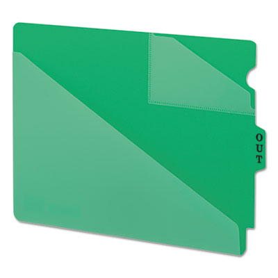 Out guides w/diagonal-cut pockets, poly, letter, green, 50/box, sold as 1 box, 50 each per box