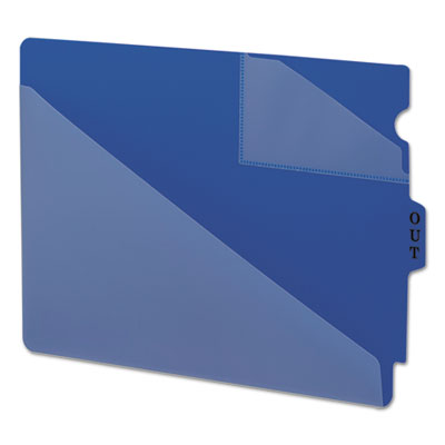 Out guides w/diagonal-cut pockets, poly, letter, blue, 50/box, sold as 1 box, 50 each per box