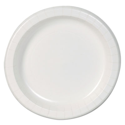 "Basic paper dinnerware, plates, white, 8.5"" diameter, 125/pack, 4/carton, sold as 1 carton, 500 each per carton"