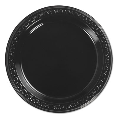 Heavyweight plastic plates, 6 inch, black, round, 125/bg, 8 bg/ct, sold as 1 carton, 8 each per carton