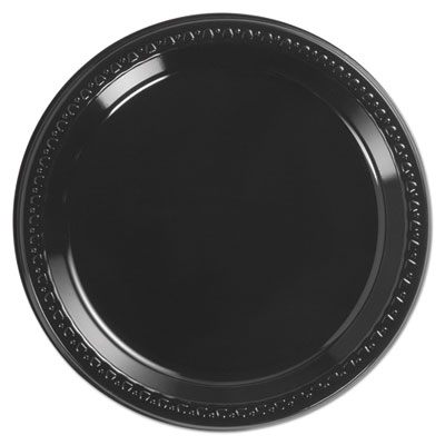 "Heavyweight plastic plates, 9"" diamter, black, 125/pack, 4 packs/ct, sold as 1 carton, 4 each per carton"