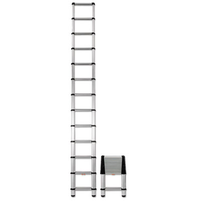 Telescopic extension ladder, 16 ft, 300lb, 12-step, aluminum, sold as 1 each