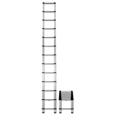 Telescopic extension ladder, 16 ft, 250lb, 12-step, aluminum, sold as 1 each