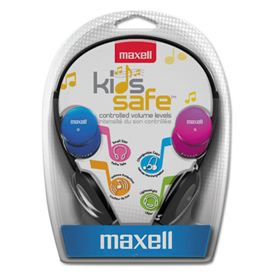 Kids safe headphones, pink/blue/silver, sold as 1 each