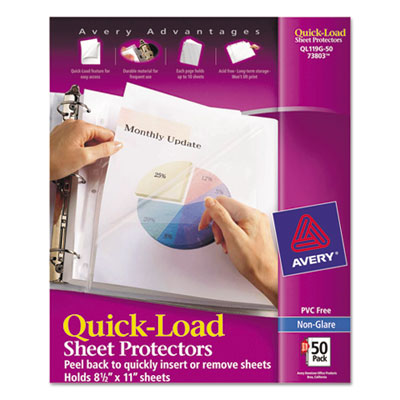 Quick top & side loading sheet protectors, letter, non-glare, 50/box, sold as 1 box, 50 each per box
