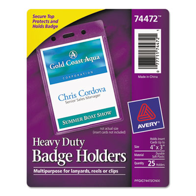 Secure top heavy-duty badge holders, vertical, 3w x 4h, clear, 25/pack, sold as 1 package