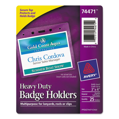 Secure top heavy-duty badge holders, horizontal, 4w x 3h, clear, 25/pack, sold as 1 package