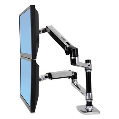 Lx dual stacking arm, polished aluminum/black, sold as 1 each