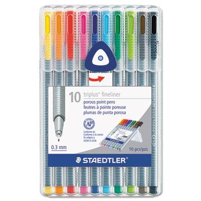 Triplus fineliner marker, super fine, water-based, 10 color set, sold as 1 set