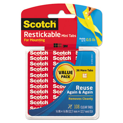 """Restickable mounting tabs, 1/2"""" x 1/2"""", clear, 108/pack, sold as 1 package"""