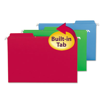 Fastab hanging folders, legal, assorted, 18/box, sold as 1 box, 18 each per box