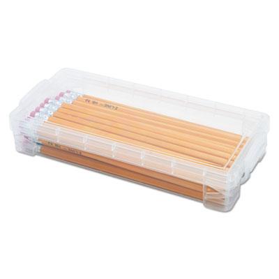Super stacker pencil box, clear, 8 1/4 x 3 3/4 x 1 1/2, sold as 1 each