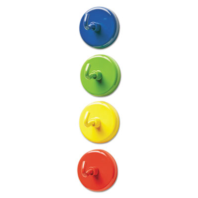 """Super strong magnetic hooks, 1 1/2"""" diameter, blue, green, red, yellow, 4/pack, sold as 1 set"""