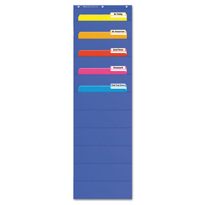 "Pocket charts, file organizer, 14"" x 46 1/2"", blue, plastic, sold as 1 each"