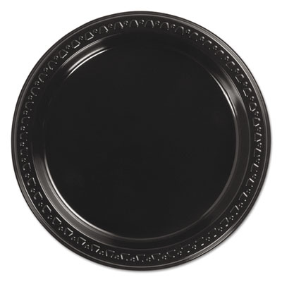 "Heavyweight plastic plates, 7"" diameter, black, 125/pack, 8 packs/ct, sold as 1 carton, 1000 each per carton"