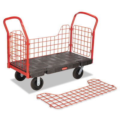 Side panel platform truck, 2000-lb capacity, 56 x 24 1/4 x 41 1/2, black/red, sold as 1 each
