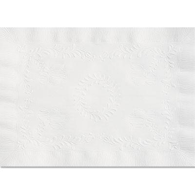 Anniversary embossed scalloped edge tray mat, 14 x 19, white, 1000/carton, sold as 1 carton, 1000 each per carton