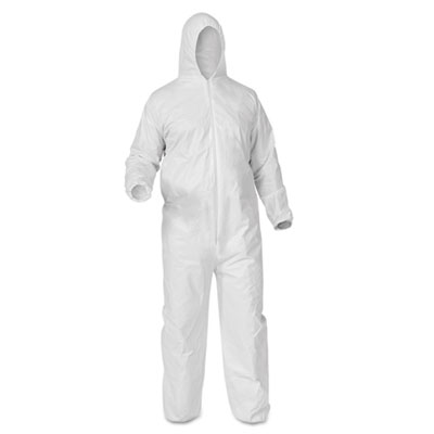 A35 coveralls, hooded, large, white, 25/carton, sold as 1 carton, 25 each per carton