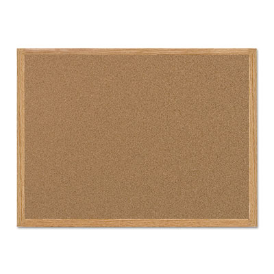 Value cork bulletin board with oak frame, 24 x 36, natural, sold as 1 each