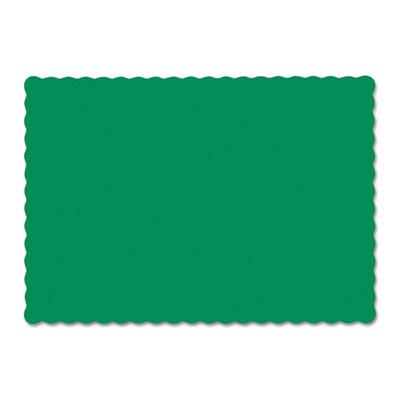 Solid color scalloped edge placemats, 9 1/2 x 13 1/2, jade, 1000/carton, sold as 1 carton, 1000 each per carton