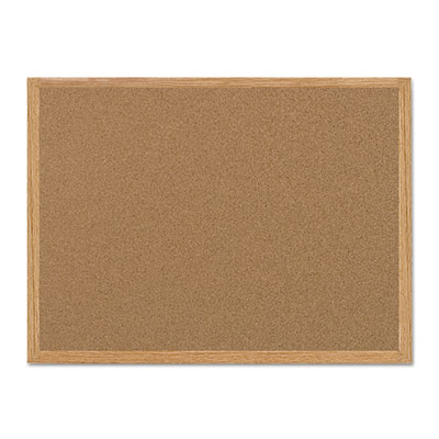 Value cork bulletin board with oak frame, 36 x 48, natural, sold as 1 each