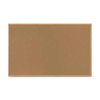 Value cork bulletin board with oak frame, 48 x 72, natural, sold as 1 each