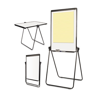 Folds-to-a-table melamine easel, 28 1/2 x 37 1/2, white, steel/laminate, sold as 1 each