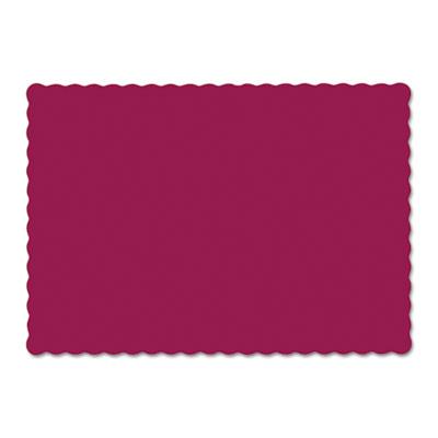 Solid color scalloped edge placemats, 9 1/2 x 13 1/2, burgundy, 1000/carton, sold as 1 carton, 1000 each per carton