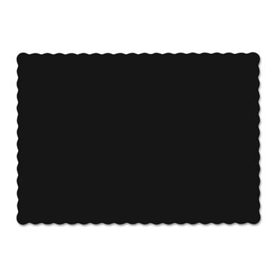 Solid color scalloped edge placemats, 9 1/2 x 13 1/2, black, 1000/carton, sold as 1 carton, 1000 each per carton