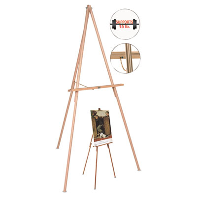 "Oak display tripod easel, 60"", wood/brass, sold as 1 each"