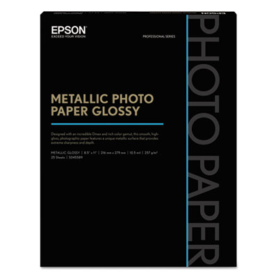Professional media metallic photo paper glossy, white, 8 1/2x11, 25 sheets/pack, sold as 1 package