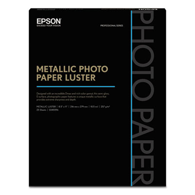 Professional media metallic photo paper luster, white, 8 1/2 x 11, 25 sheets, sold as 1 package