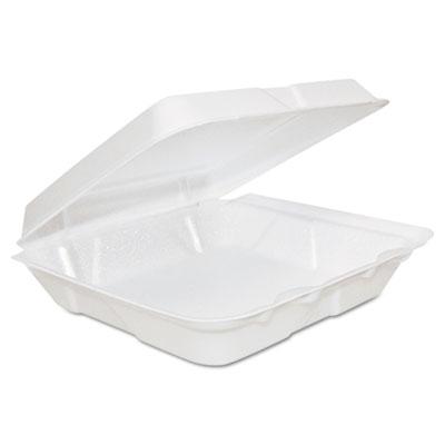Foam hinged lid containers, 8 x 8 x 2 1/4, white, 200/carton, sold as 1 carton, 200 each per carton