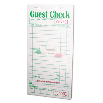 Guest check book, 3 1/2 x 6 7/10, green/white, 50/book, 50 books/carton, sold as 1 carton, 2500 each per carton