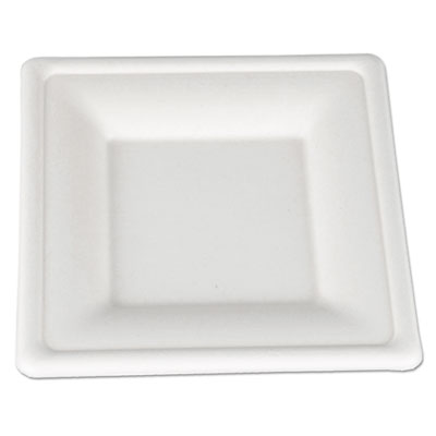 Champware molded fiber tableware, square, 6 x 6, white, 500 per carton, sold as 1 carton, 500 each per carton