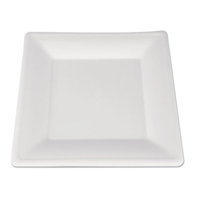 Champware molded fiber tableware, square, 10 x 10, white, 500 per carton, sold as 1 carton, 500 each per carton