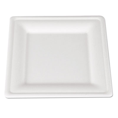 Champware molded fiber tableware, square, 8 x 8, white, 500 per carton, sold as 1 carton, 500 each per carton