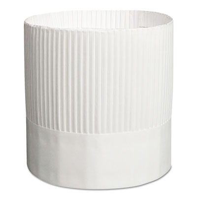 "Stirling fluted chef's hats, paper, white, adjustable, 7"" tall, 15/carton, sold as 1 carton, 15 each per carton"