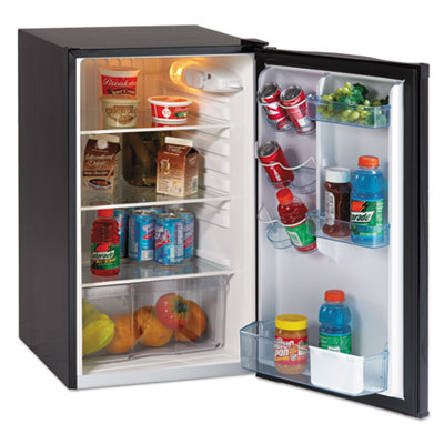 "4.4 cf auto-defrost refrigerator, 19 1/2""w x 22""d x 33""h, black, sold as 1 each"