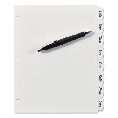 Write & erase big tab plastic dividers, 8-tab, letter, sold as 1 set