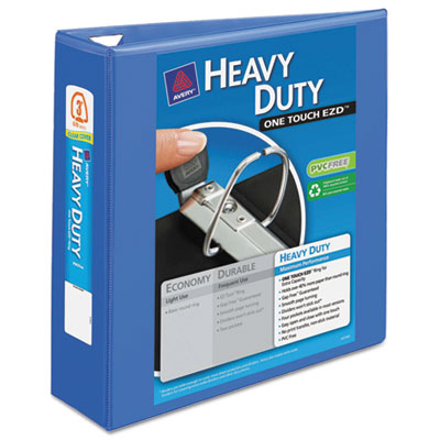 """Heavy-duty view binder w/locking 1-touch ezd rings, 3"""" cap, periwinkle, sold as 1 each"""
