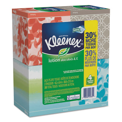Lotion facial tissue, 2-ply, 75 sheets/box, 4 box/pack, sold as 1 package