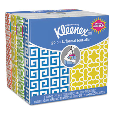 Facial tissue pocket packs, 3-ply, white, 10/pouch, 8 pouches/pack, sold as 1 package