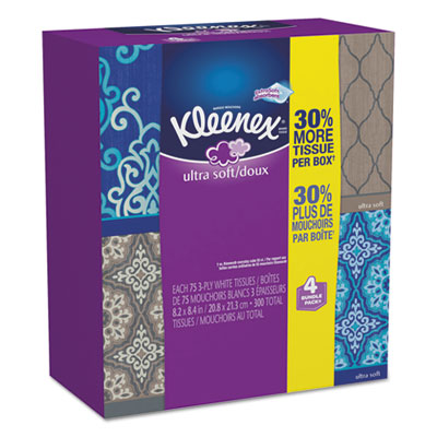 Ultra soft facial tissue, 3-ply, white, 8.75 x 4.5, 75/box, 4 box/pack, sold as 1 package