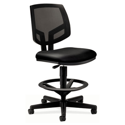 Volt series mesh back adjustable leather task stool, black, sold as 1 each