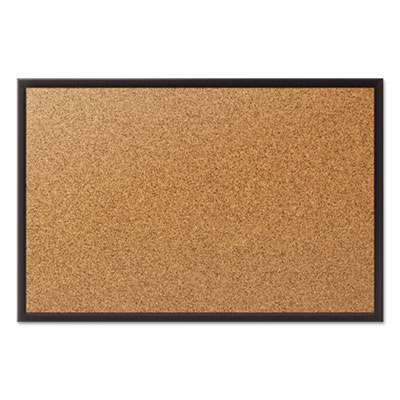 Classic cork bulletin board, 24x18, black aluminum frame, sold as 1 each