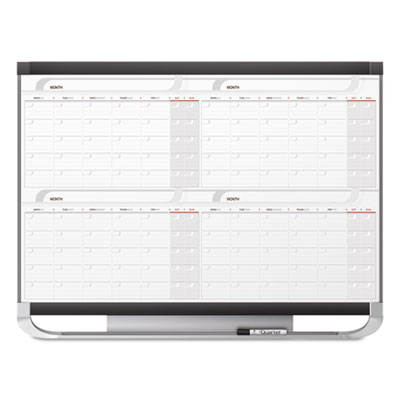 Prestige 2 connects total erase 4-month calendar, 48 x 36, graphite color frame, sold as 1 each