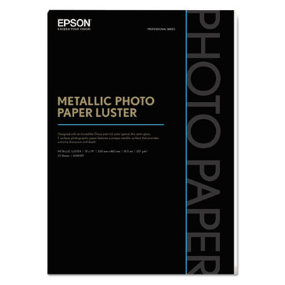 Professional media metallic photo paper luster, white, 13 x 19, 25 sheets/pack, sold as 1 package