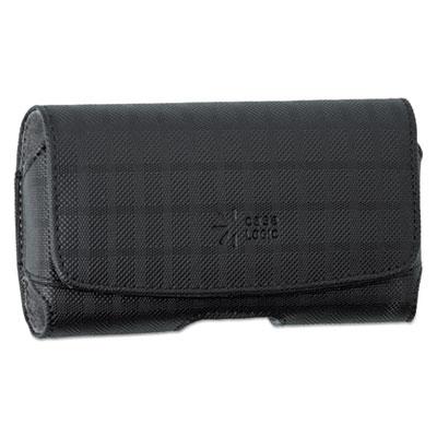 Horizontal pouch for belt, plaid design, black, sold as 1 each
